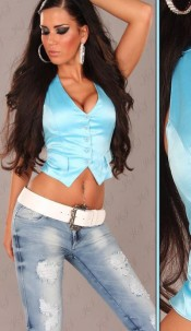 Sexy Vest to tie in Corsage-Look Turquoise