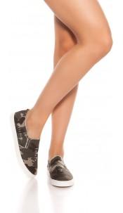 Trendy Slip-On Sneaker Used Look Army