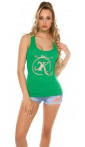 Sexy KouCla Finerip-Tanktop with rhinestones Green