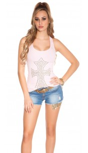 Sexy KouCla fineripp tanktop with cross Pink