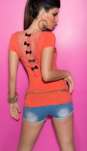Sexy KouCla Shirt with Loops and Lace Coral