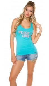 Trendy KouCla Tanktop Peace and Love Turquoise