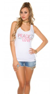 Trendy KouCla Tanktop Peace and Love White