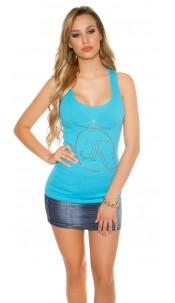 Sexy KouCla finerip tanktop w. rhinest.-studsprint Turquoise