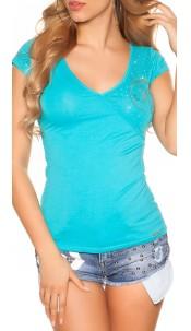 Sexy KouCla V-neck t-shirt with cracks Turquoise