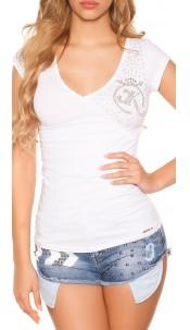 Sexy KouCla V-neck t-shirt with cracks White