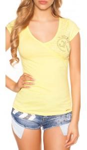 Sexy KouCla V-neck t-shirt with cracks Yellow