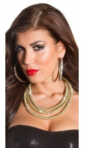 Trendy statement Glamour necklace with rhinestones Gold