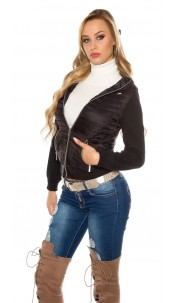 Trendy hooded quilted jacket Black