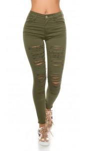 Sexy skinny jeans with cracks Khaki
