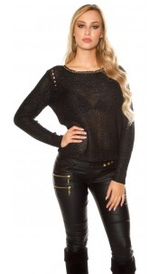 Sexy coarse cord sweater with sequins Black