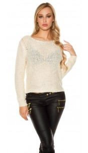 Sexy coarse cord sweater with sequins Cream