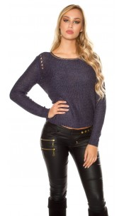 Sexy coarse cord sweater with sequins Navy