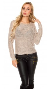 Sexy coarse cord sweater with sequins Taupe
