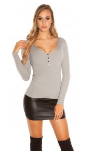 Sexy V-cut rib knit sweater with buttons Grey