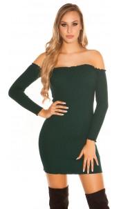 Sexy knit rib mini dress with carmen neckline Darkgreen