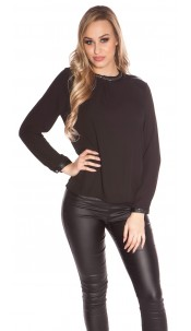 Sexy KouCla blouse with leather look applications Black