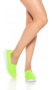Trendy slip-on sneaker braided look Neonyellow