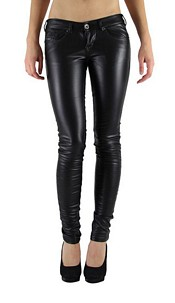 Skinny Leather-Look Pants with pocket detail