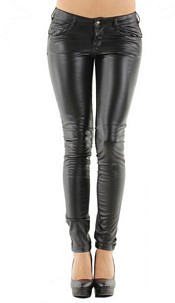 Skinny Leather-Look Pants with Push Up