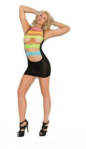 Mini-Dress with neon-striping Black