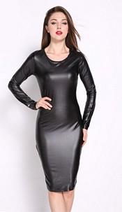 Wetlook Bandage Dress Zwart