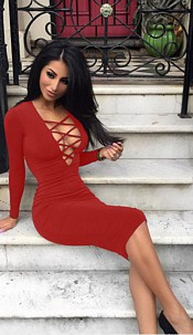 Dress with lace-look Red