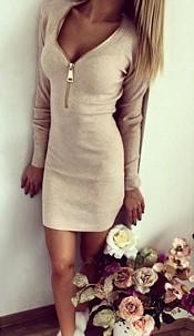 Minidress with Zipper Beige