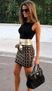 Trendy Dress in Black / Gold