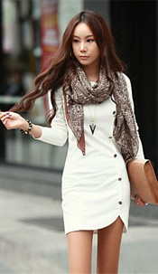 Dress with buttons White