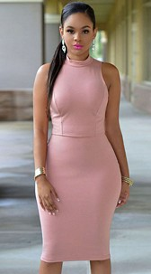 Dress with cutout Pink