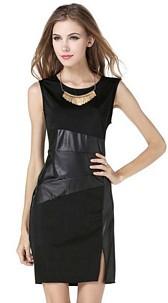 Dress with wetlook Black