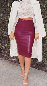 Faux-Leather Skirt Red
