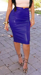 Faux-Leather Skirt Royalblue
