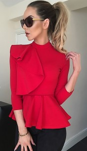 Ciara Side Frill Detail Peplum Top Red