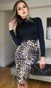 Beatrice Animal Print Dress Black