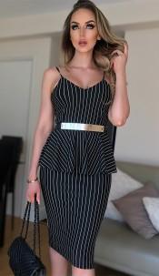 Belinda Striped Peplum Dress Black