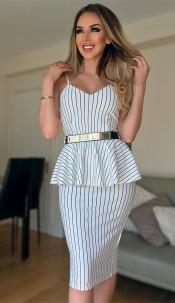 Belinda Striped Peplum Dress Ivory