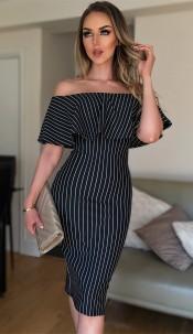 Melody Striped Bardot Dress Black