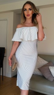 Melody Striped Bardot Dress Ivory