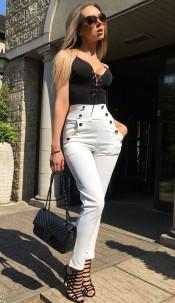 Hannah High Waisted Trousers Ivory