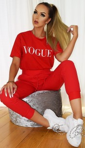 Vogue Contrast Two Piece Set Red