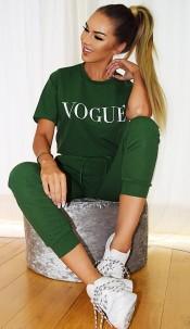 Vogue Contrast Two Piece Set Khaki