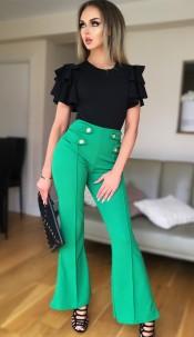 Ciska Button Detail Flared Trousers Jade