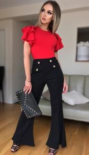 Ciska Button Detail Flared Trousers Black