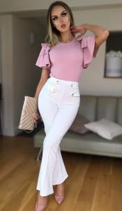 Ciska Button Detail Flared Trousers Cream