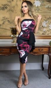 Shiloh Floral Side Frill Bandeau Dress Black