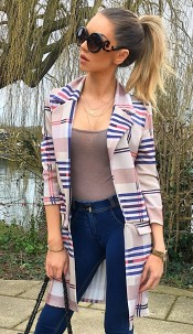 Sophie Checked Striped Longline Jacket Beige