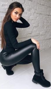 Lyra leatherette Wet Look Leggings Black
