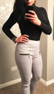 Ellie Zip Detail Trousers Grey